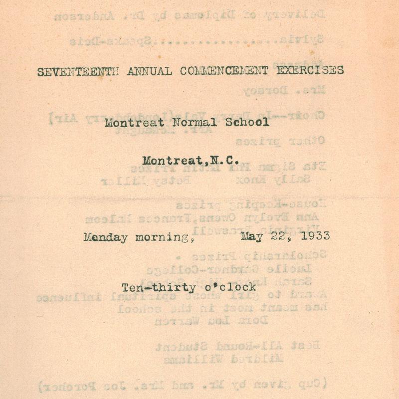 1933 Commencement Program