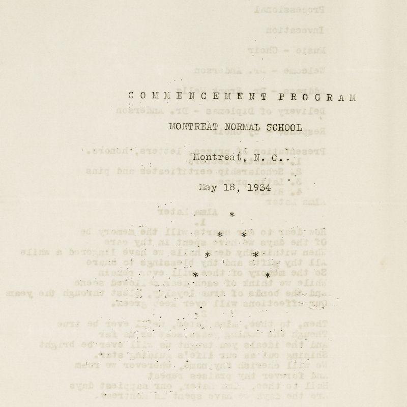 1934 Commencement Program