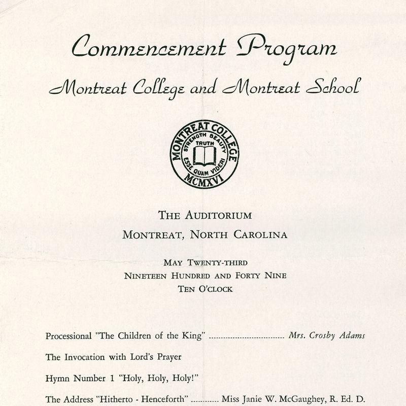 1949 Commencement Program