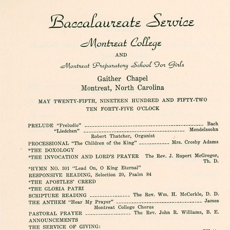 1952 Commencement Program