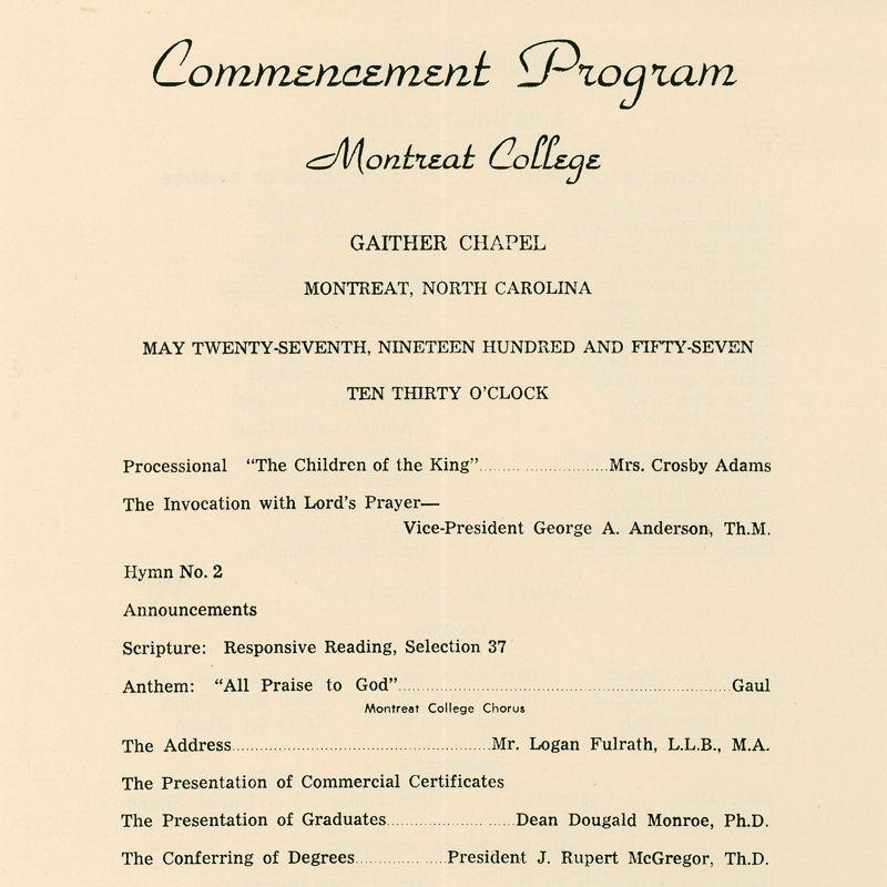 1957 Commencement Program
