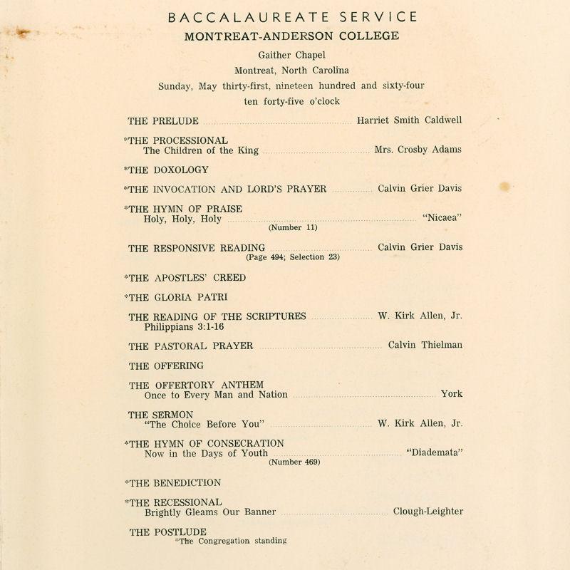 1964 Commencement Program