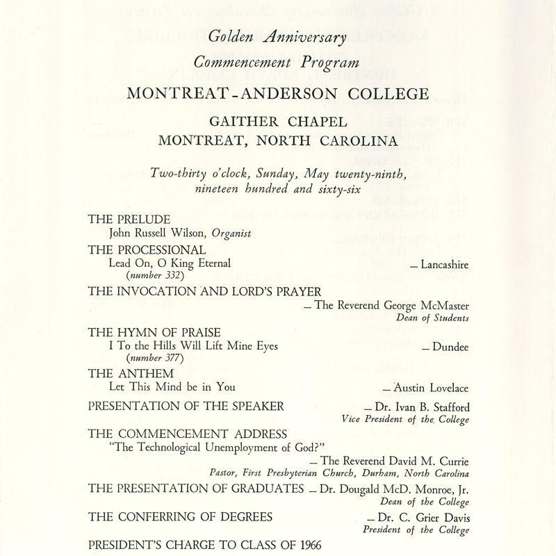 1966 Commencement Program