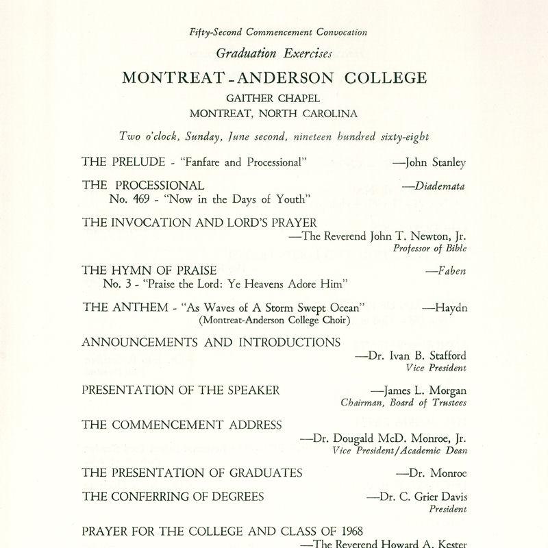1968 Commencement Program