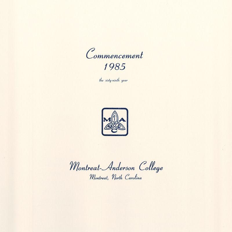 1985 Commencement Program