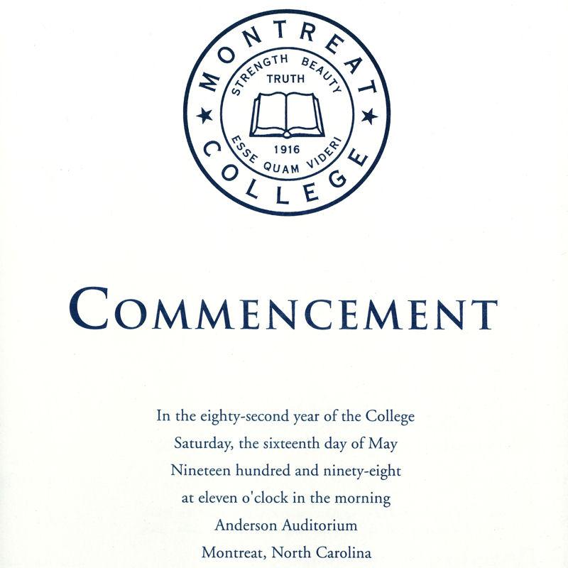 1998 Commencement Program