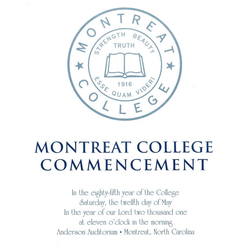 2001 Commencement Program