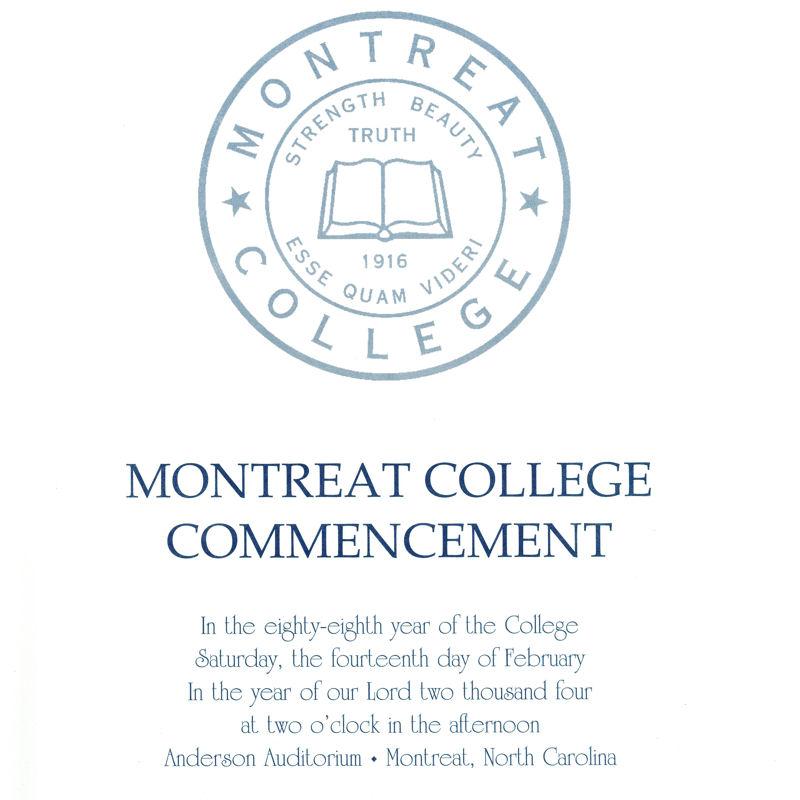 February 2004 Commencement Program