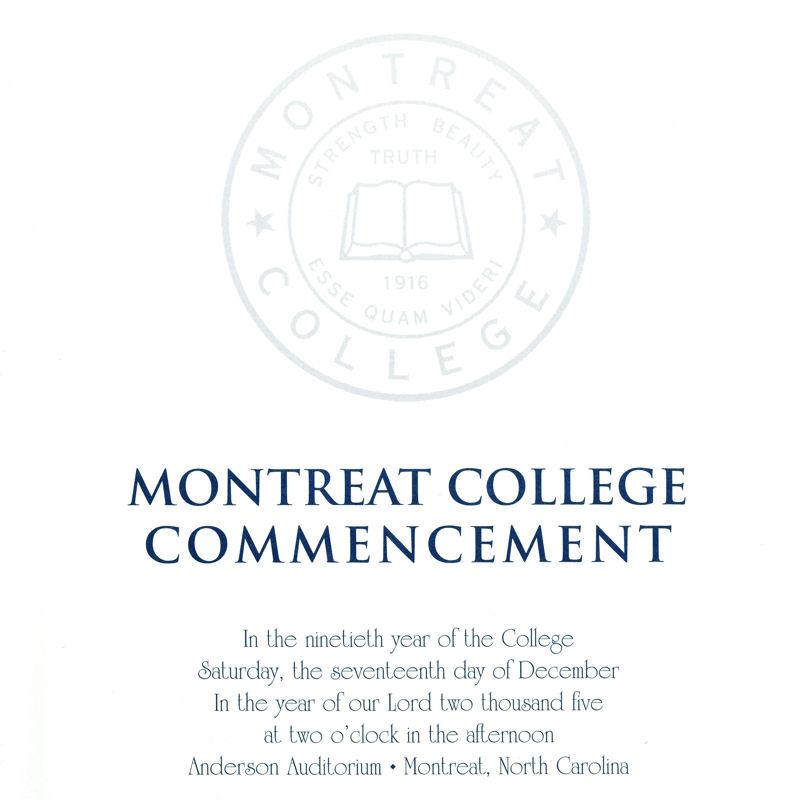 December 2005 Commencement Program