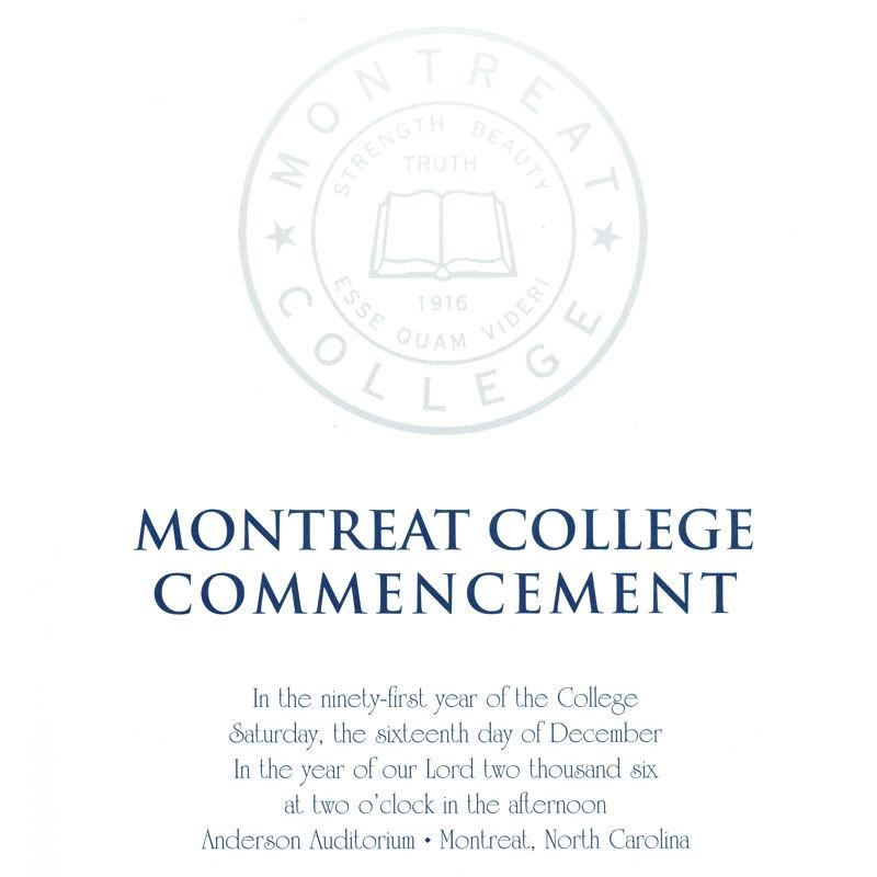 December 2006 Commencement Program