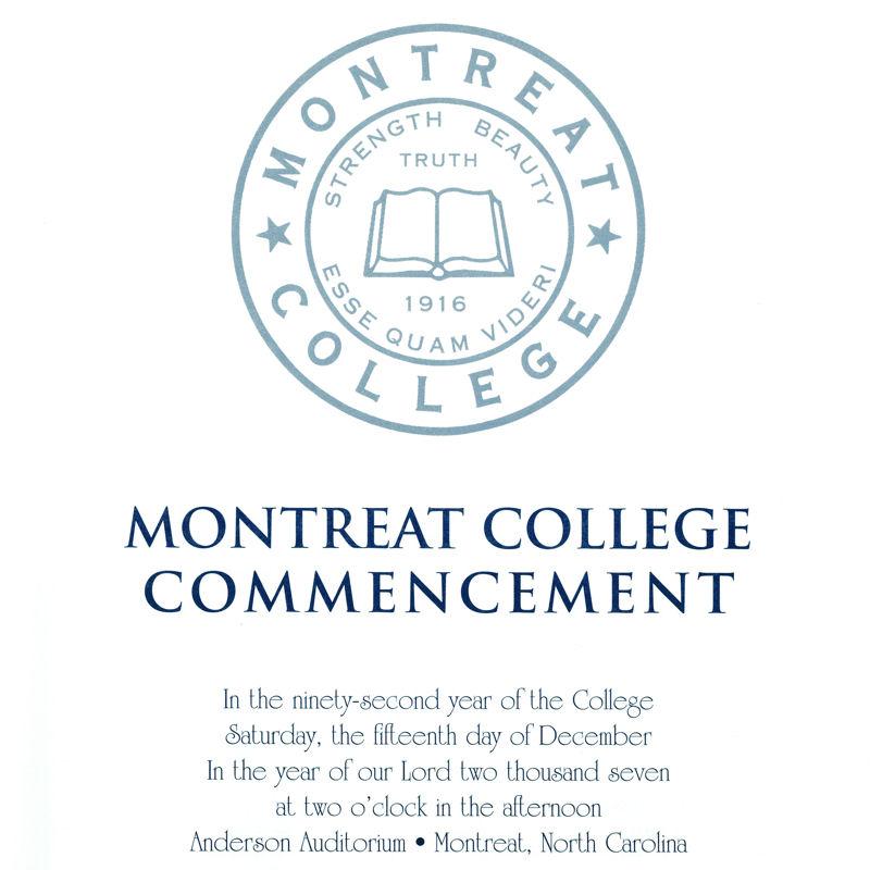 December 2007 Commencement Program