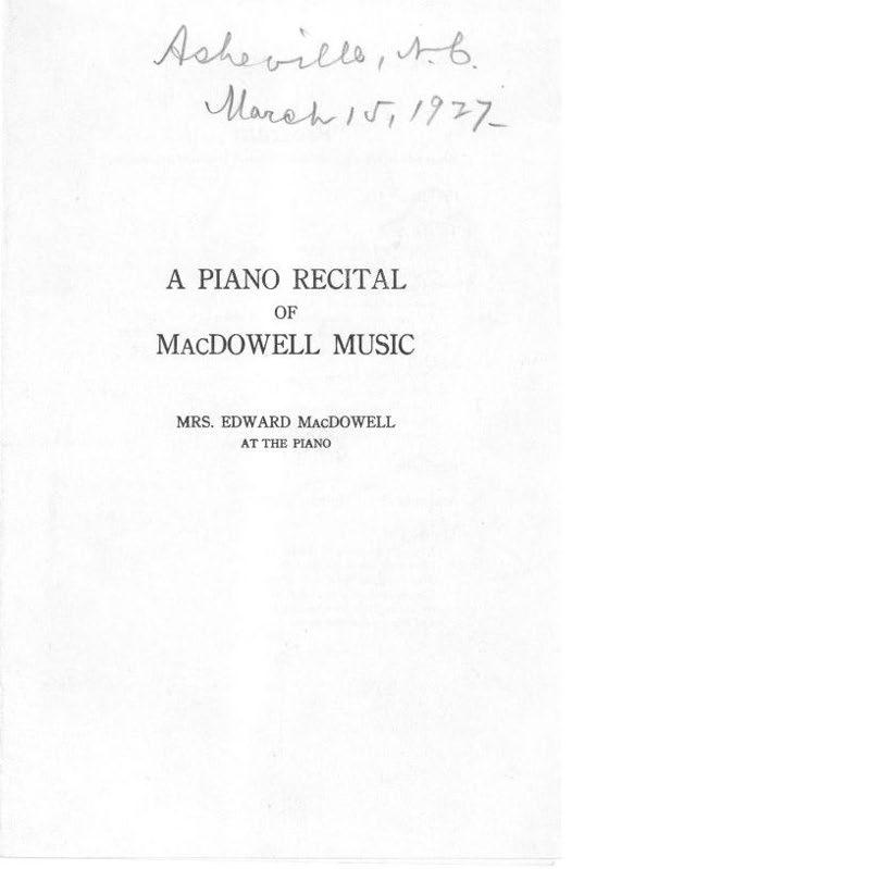 A Piano Recital of MacDowell Music