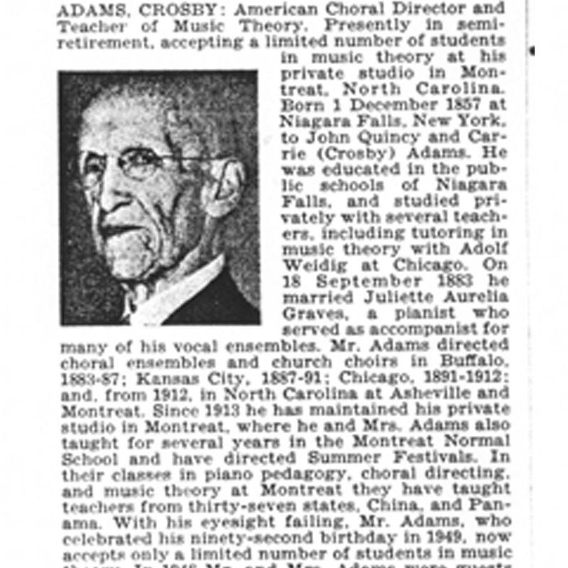 Biography of Mr. Crosby Adams