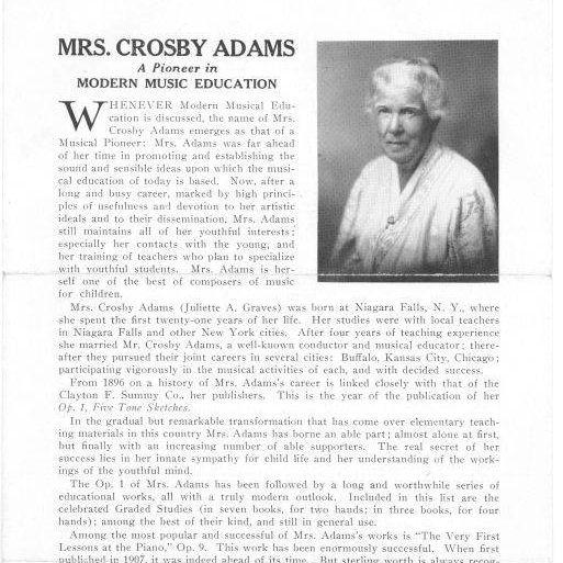 Mrs Crosby Adams a pioneer in Christian Music Education