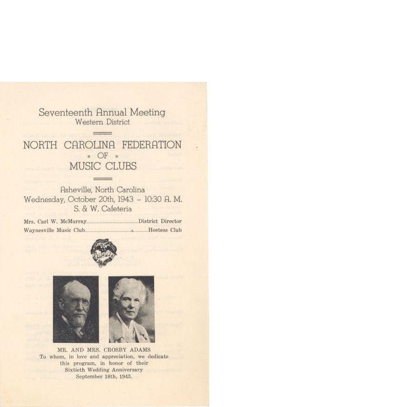 North Carolina Federation of Music Clubs, Seventeenth Annual Meeting Program, October 1943