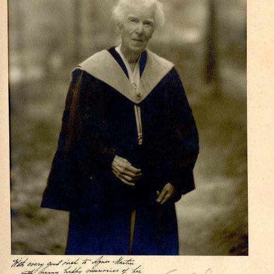 Photograph of Mrs Crosby Adams in academic regalia