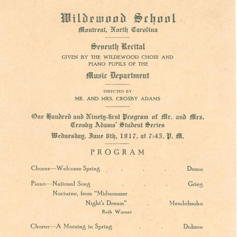 Program for a piano recital at Wildewood School, Montreat, N.C.