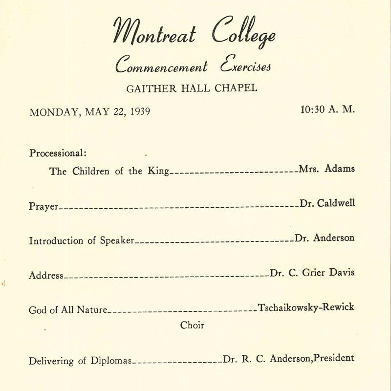 1939 Commencement Exercises Program