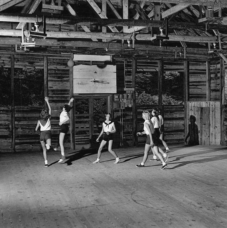 Girls playing basketball at Camp Montreat