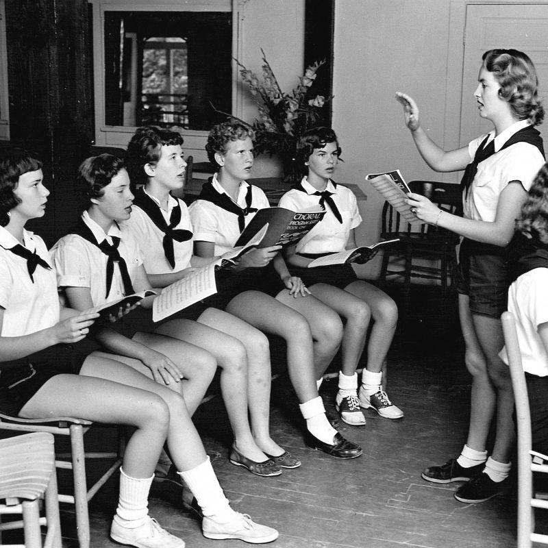 Campers practicing choral singing