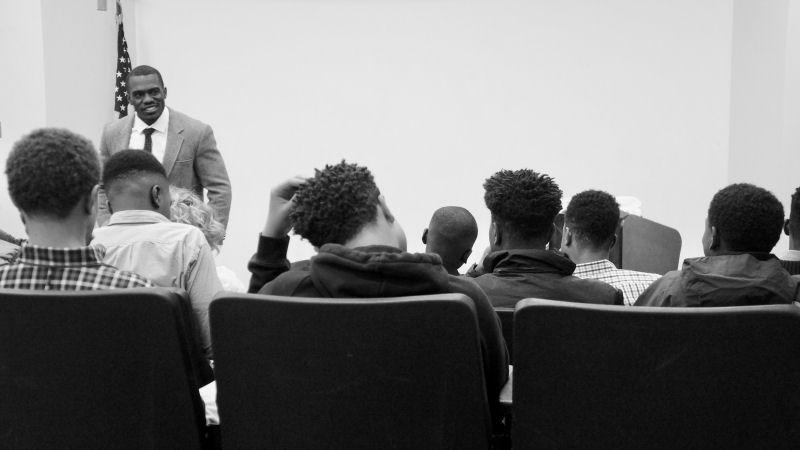Rwenshaun Miller speaks on mental health among teenage males at the Jack and Jill Teen Symposium