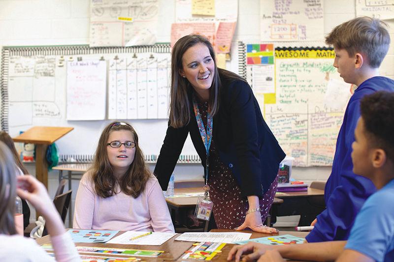 Caroline Clark in the classroom at Black Mountain Elementary School
