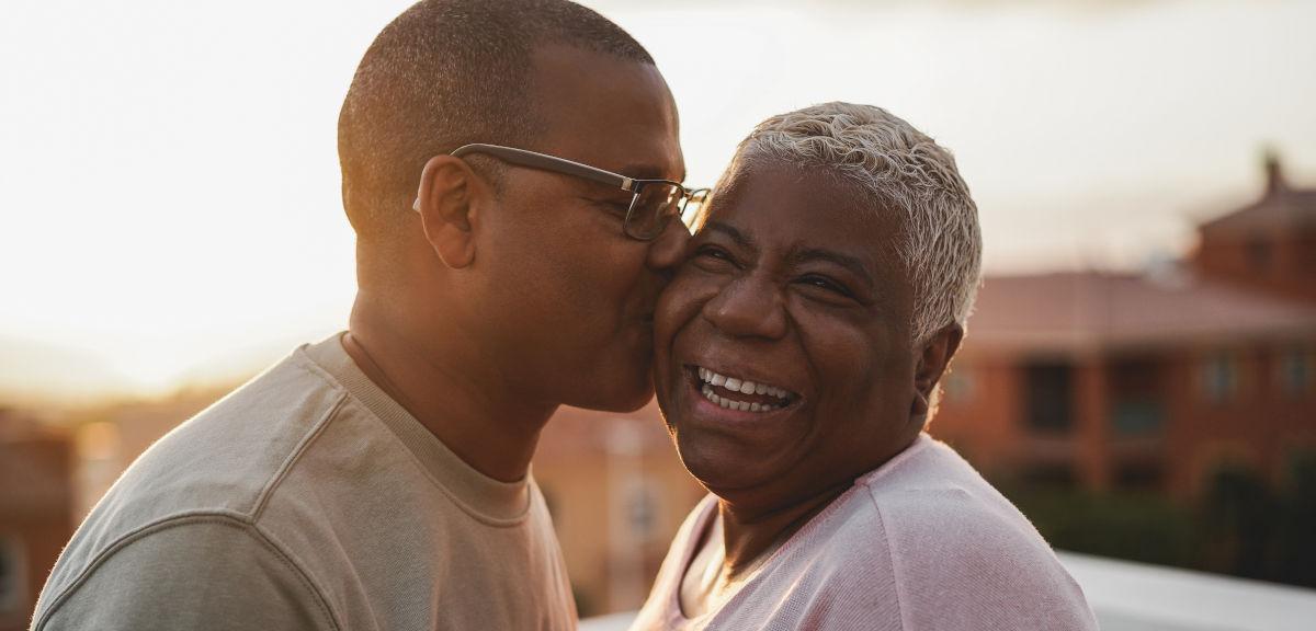 Happy older African couple